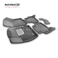 Текстильные 3D коврики Euromat3D Lux в салон для Skoda Octavia A7 (2013-2020) № EM3D-004507G Серые