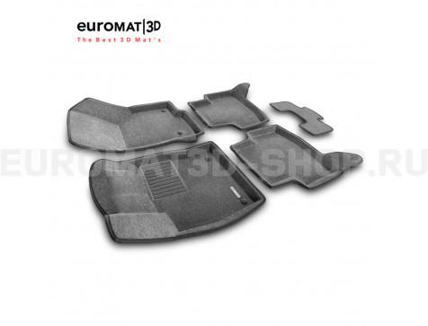 Текстильные 3D коврики Euromat3D Business в салон для Audi A3 (2014-) № EMC3D-004507G Серые